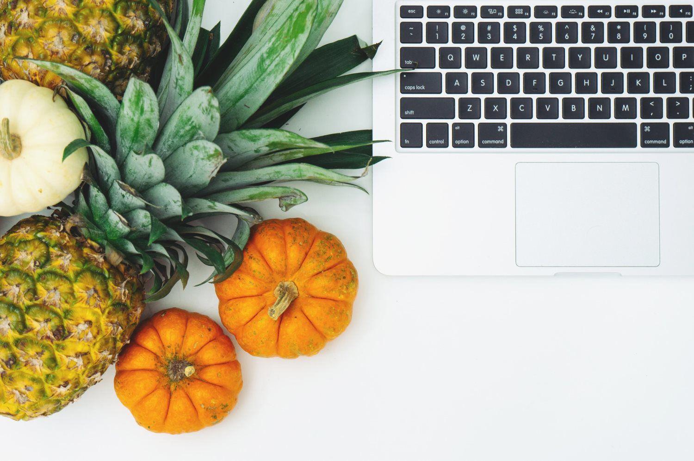 fruits, laptop