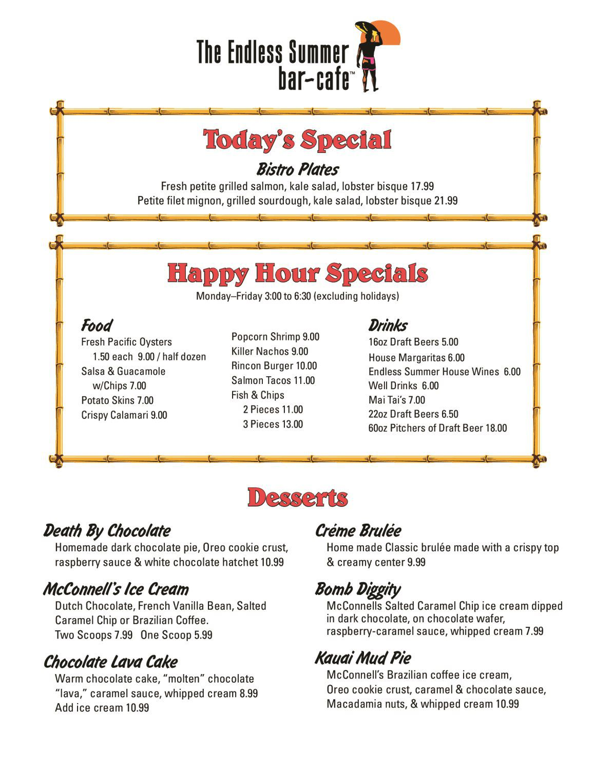 The Endless Summer Bar Cafe Menu - Chuck's Waterfront Grill