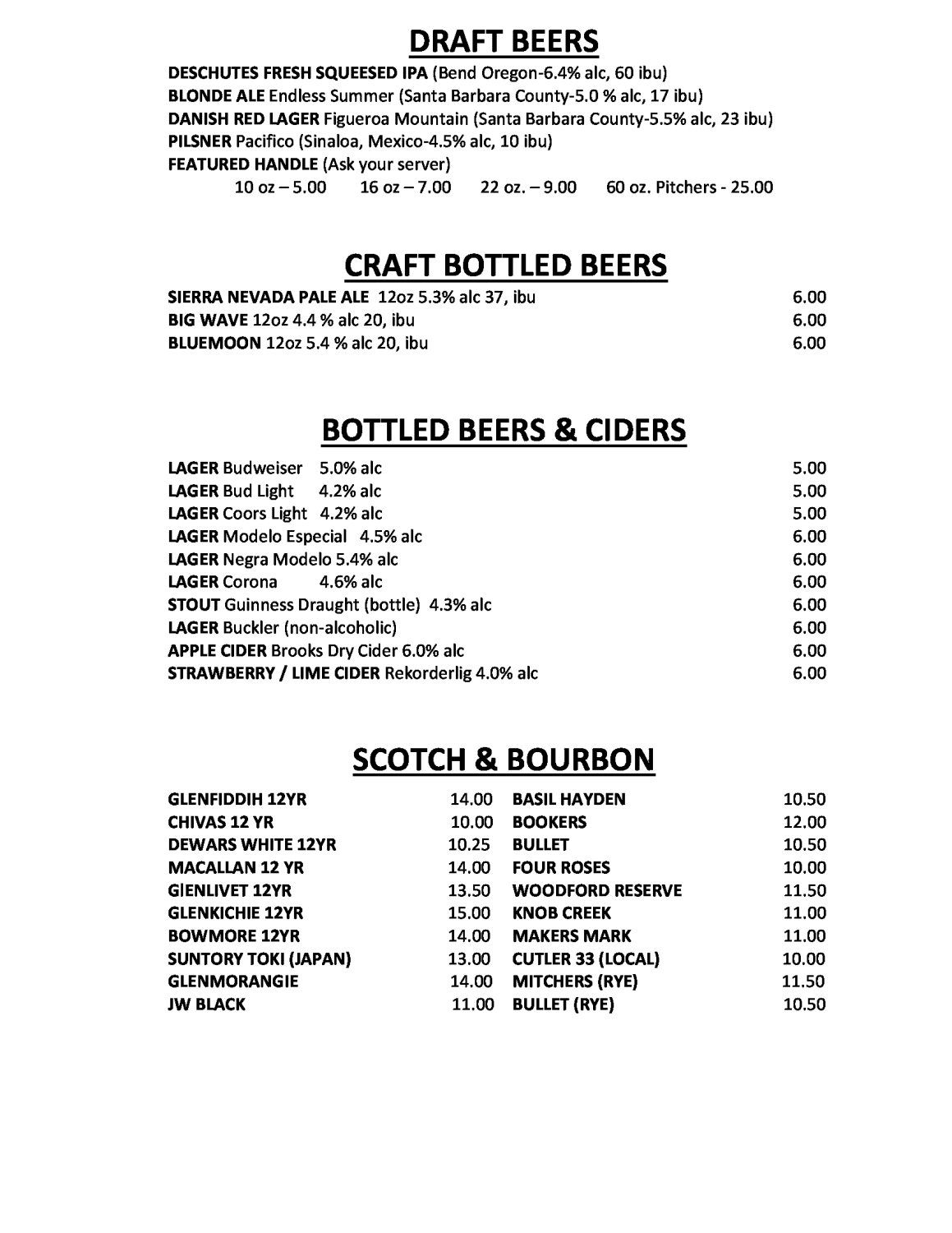 Chuck's Waterfront Grill Menu - Chuck's Waterfront Grill