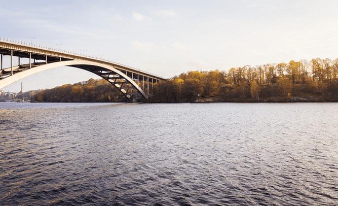 lake with bridge