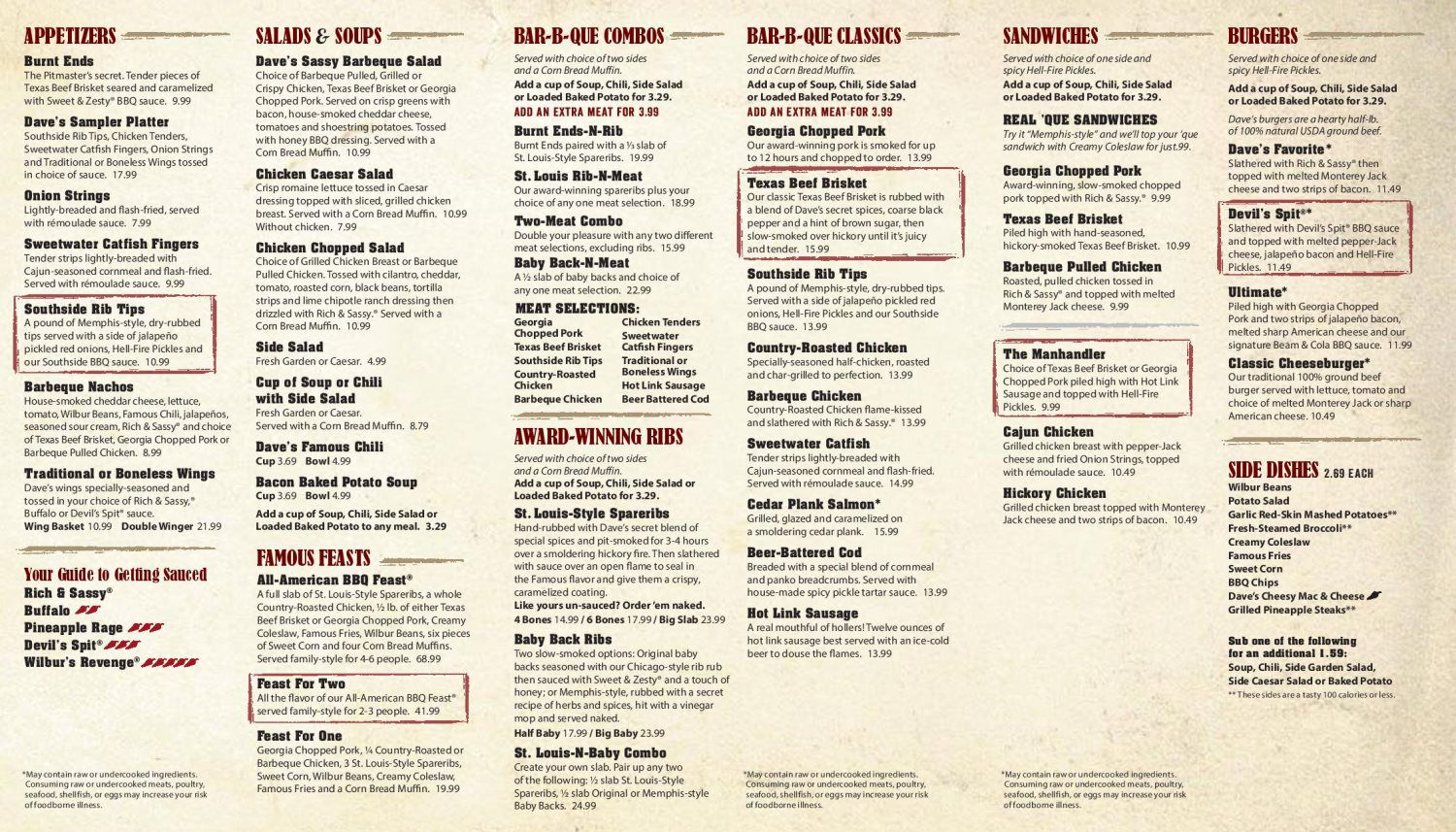 to go menu - famous dave's