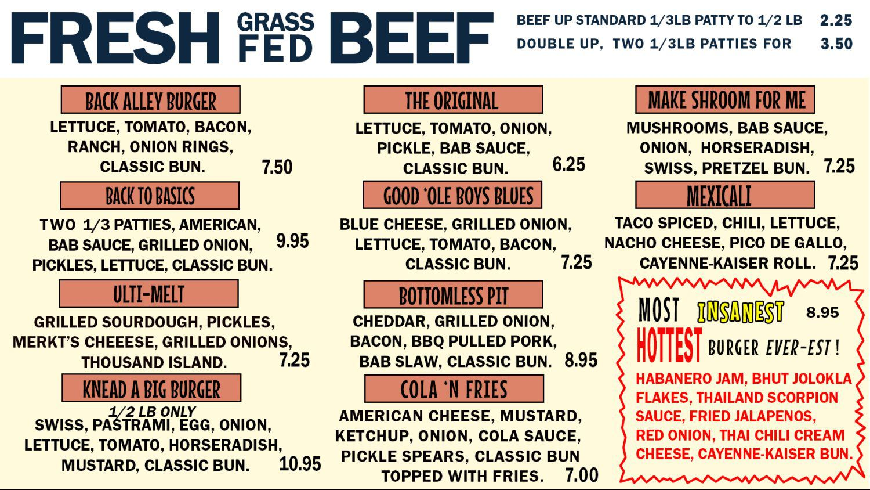 menu back alley burger