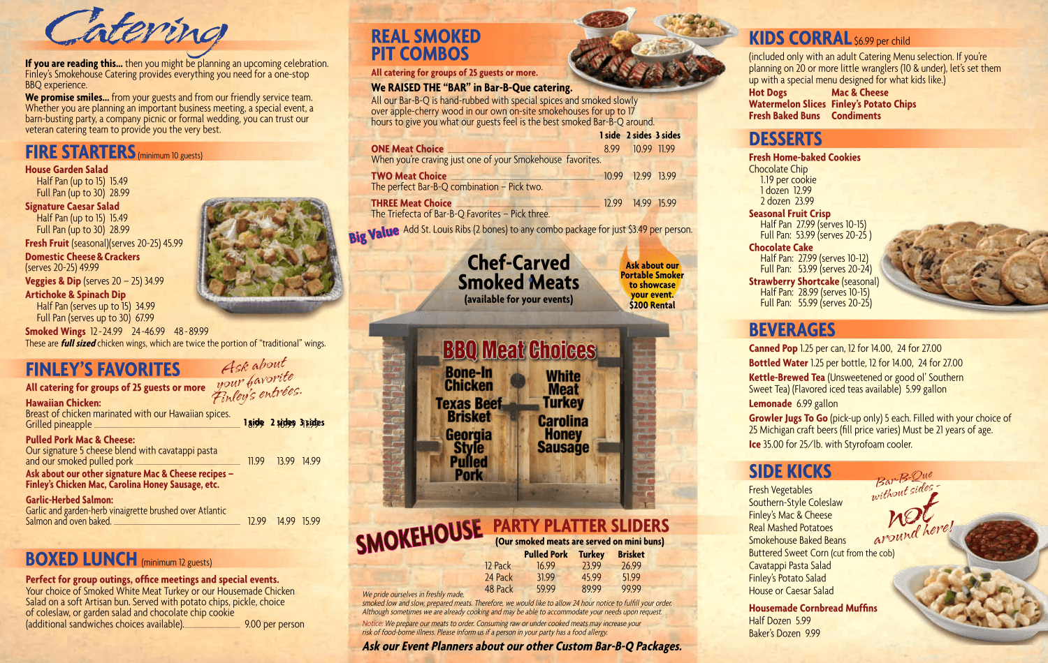 Smokehouse Catering Menu Finleys Grill and Smokehouse