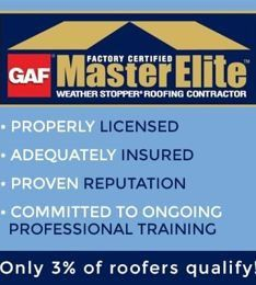 GAF Master Elite factory certified logo with listed GAF qualities