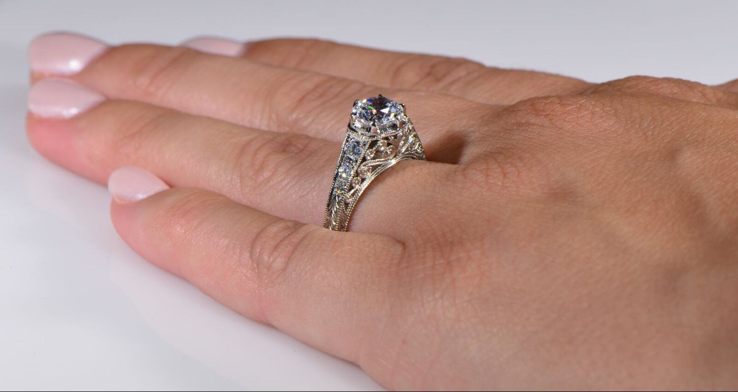 Veian Crown Vintage Style Engagement Ring With Cushion Cut Sapphire Center: Antique Filigree Wedding Rings At Reisefeber.org
