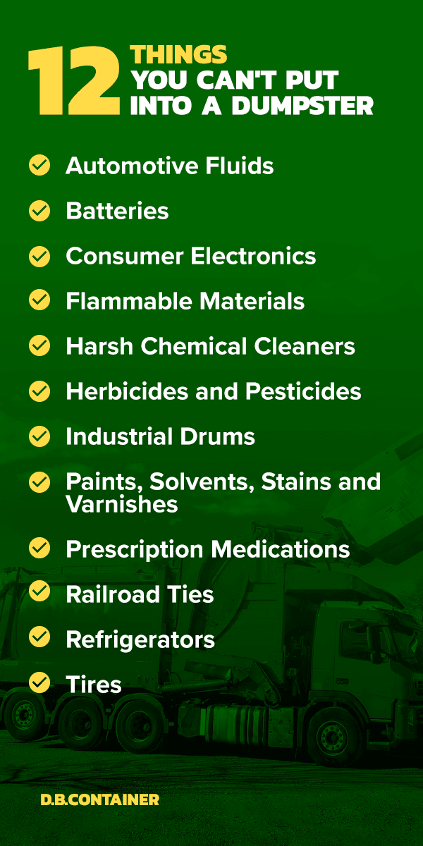 List of Things You Can't Throw in a Dumpster