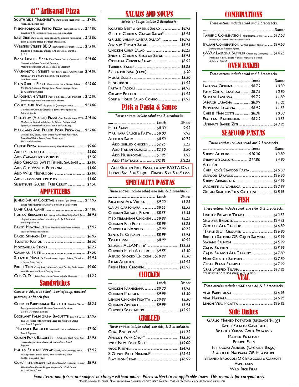 restaurant to go menu