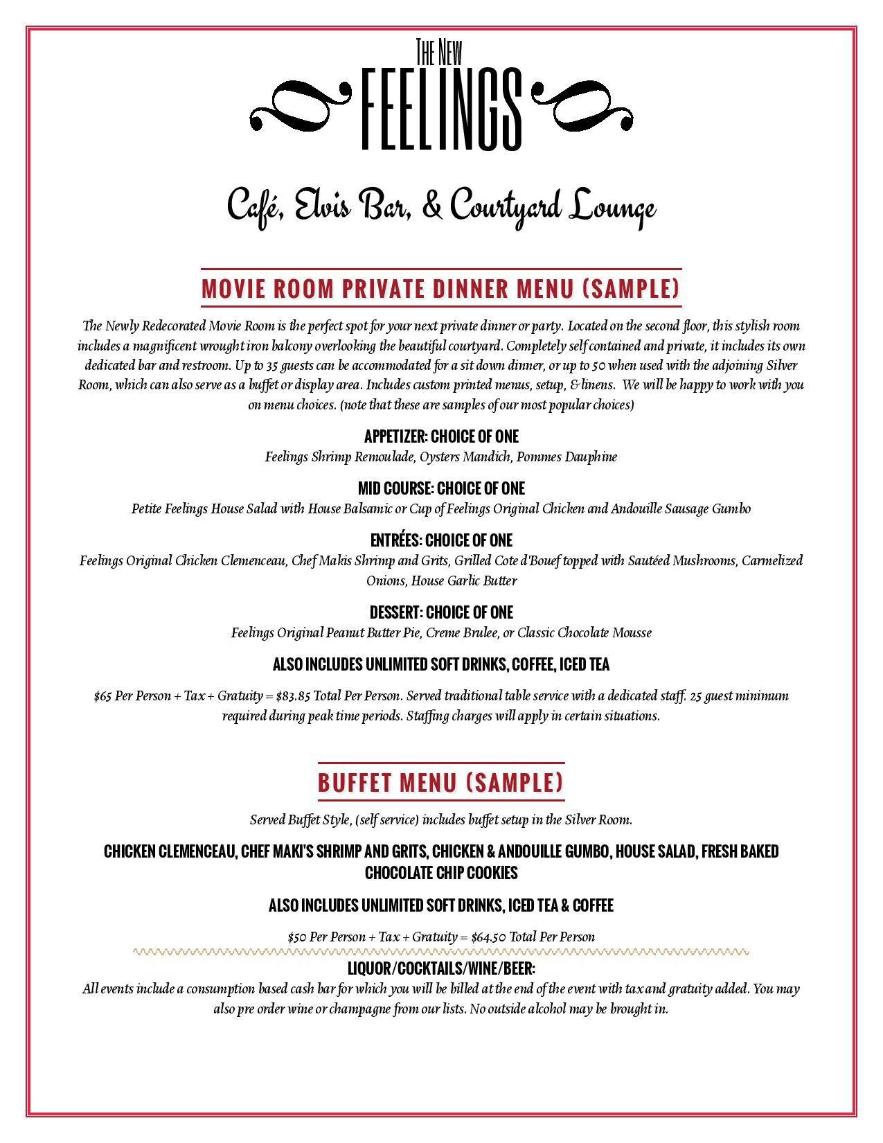 sample catering menu
