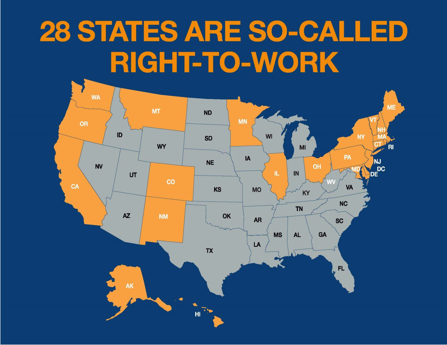 Labor Union States Map.So Called Right To Work Laborers International Union Of North America