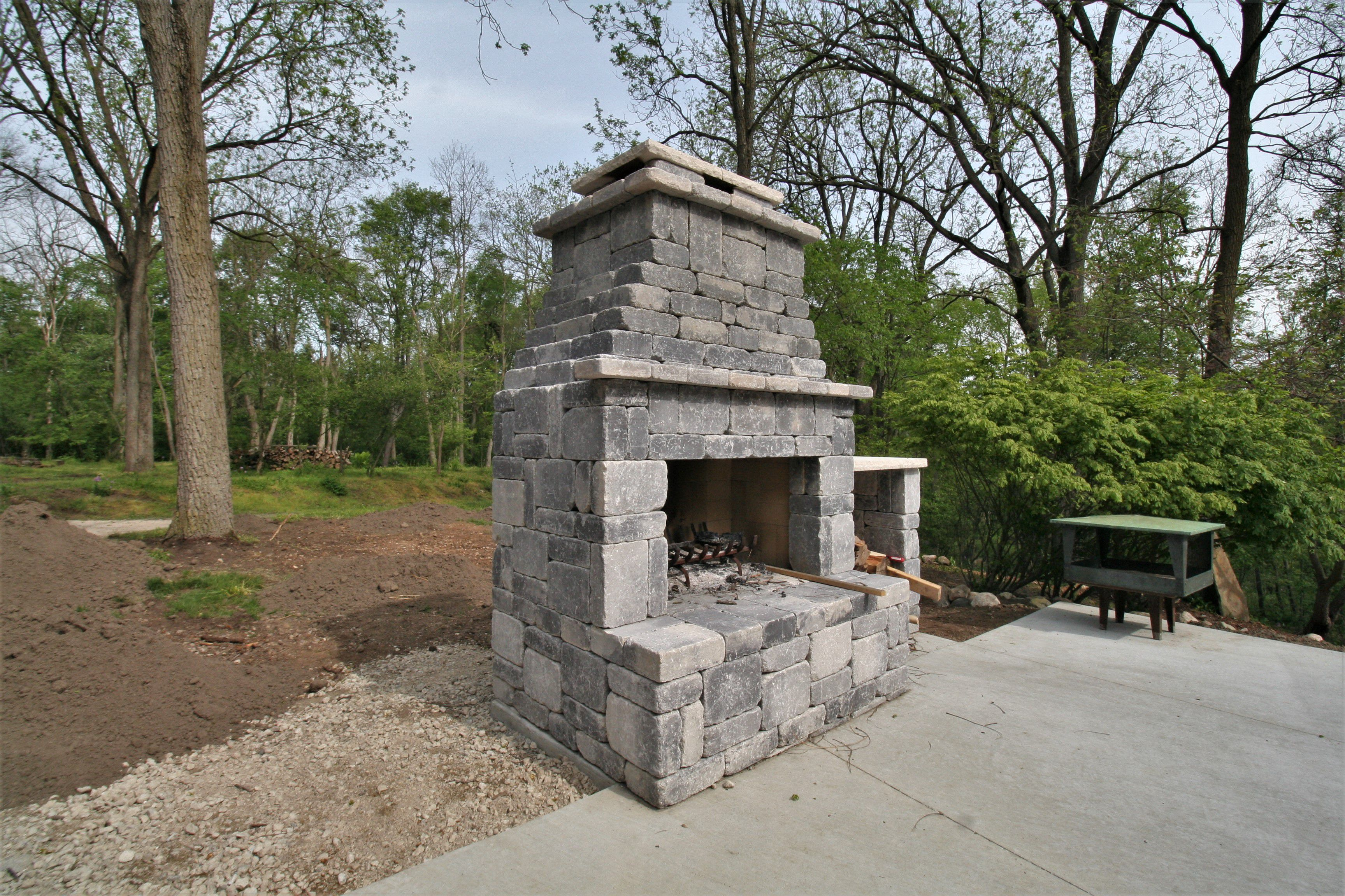Concrete Block Outdoor Fireplace Dexter Builders