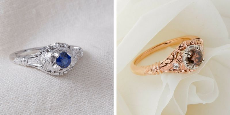 edwardian blossom with a sapphire and edwardian blossom in rose gold