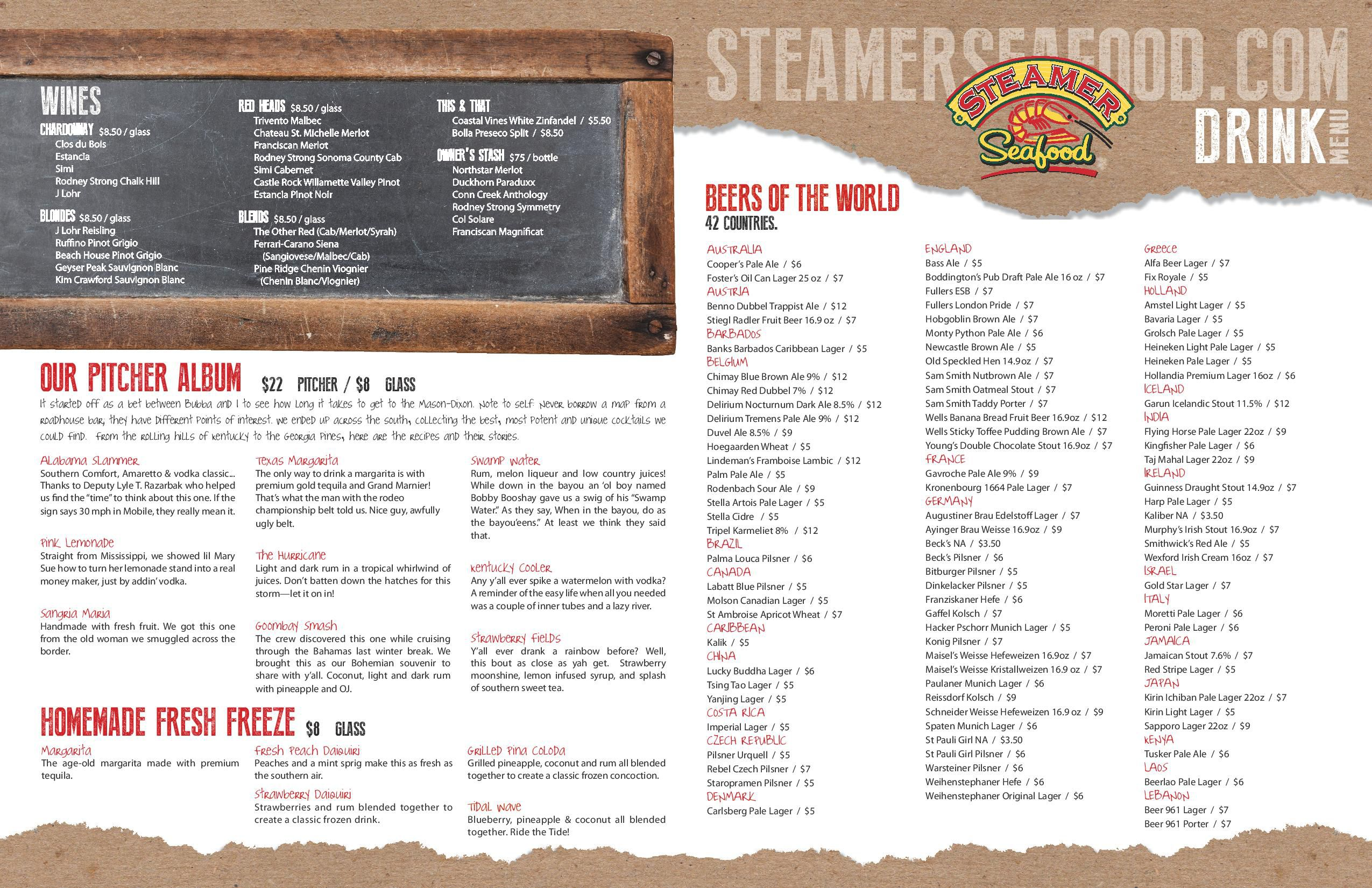Beer Menu Steamer Seafood – Beer Menu