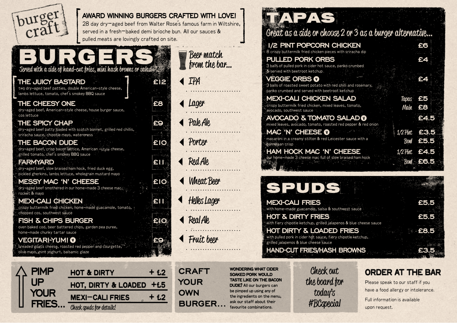 Our Burger Menu Burger Craft