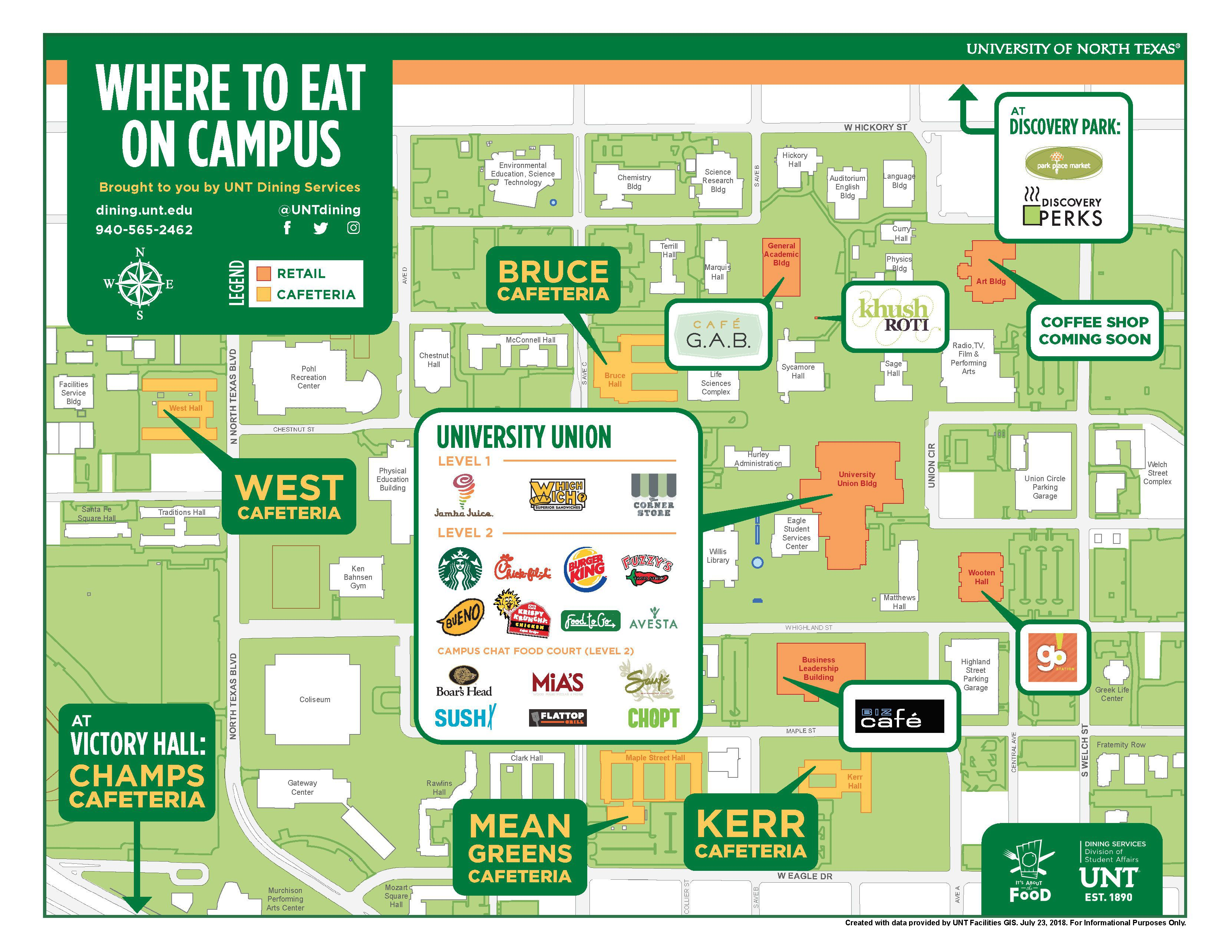 Map Of Unt UNT Cafeteria Location Maps   University of North Texas Dining Map Of Unt