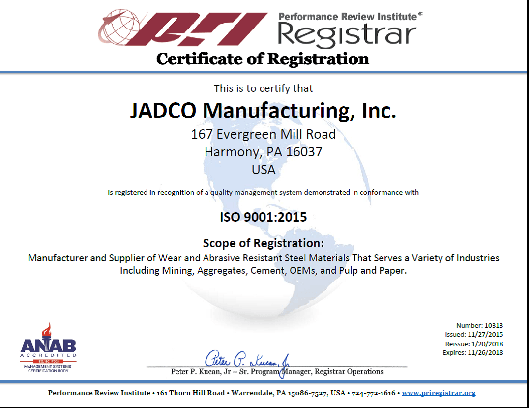 Jadco Receives Accreditation For Iso 90012015 Jadco Manufacturing Inc