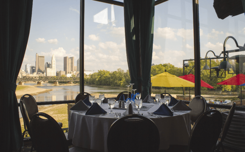 banquet table with a view
