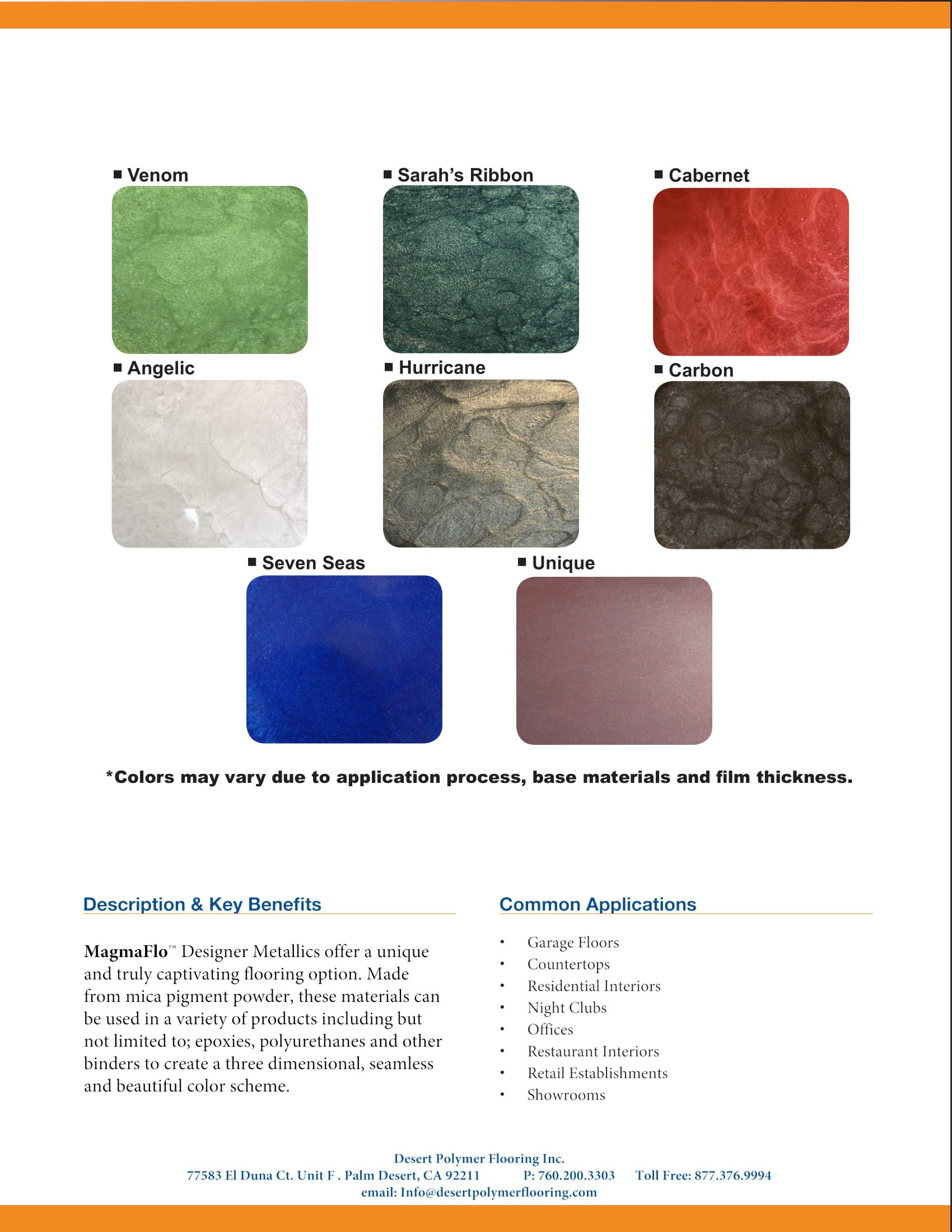 Dpf Color Charts Desert Polymer Flooring Inc