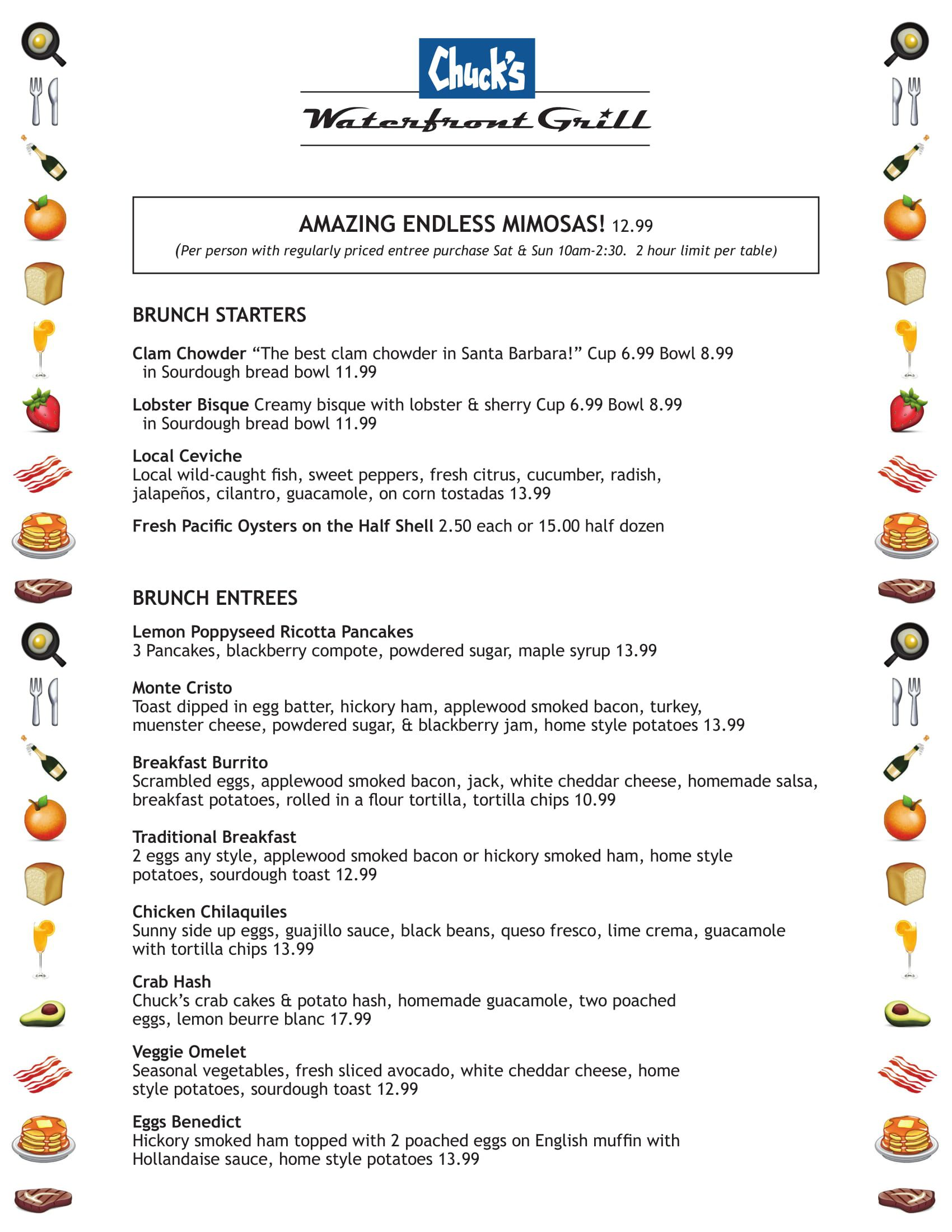 Brunch Menu - Chuck's Waterfront Grill