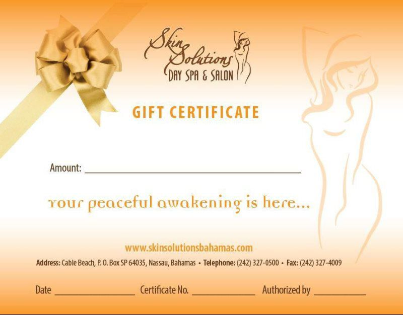 Spa And Salon Gift Certificates Skin Solutions
