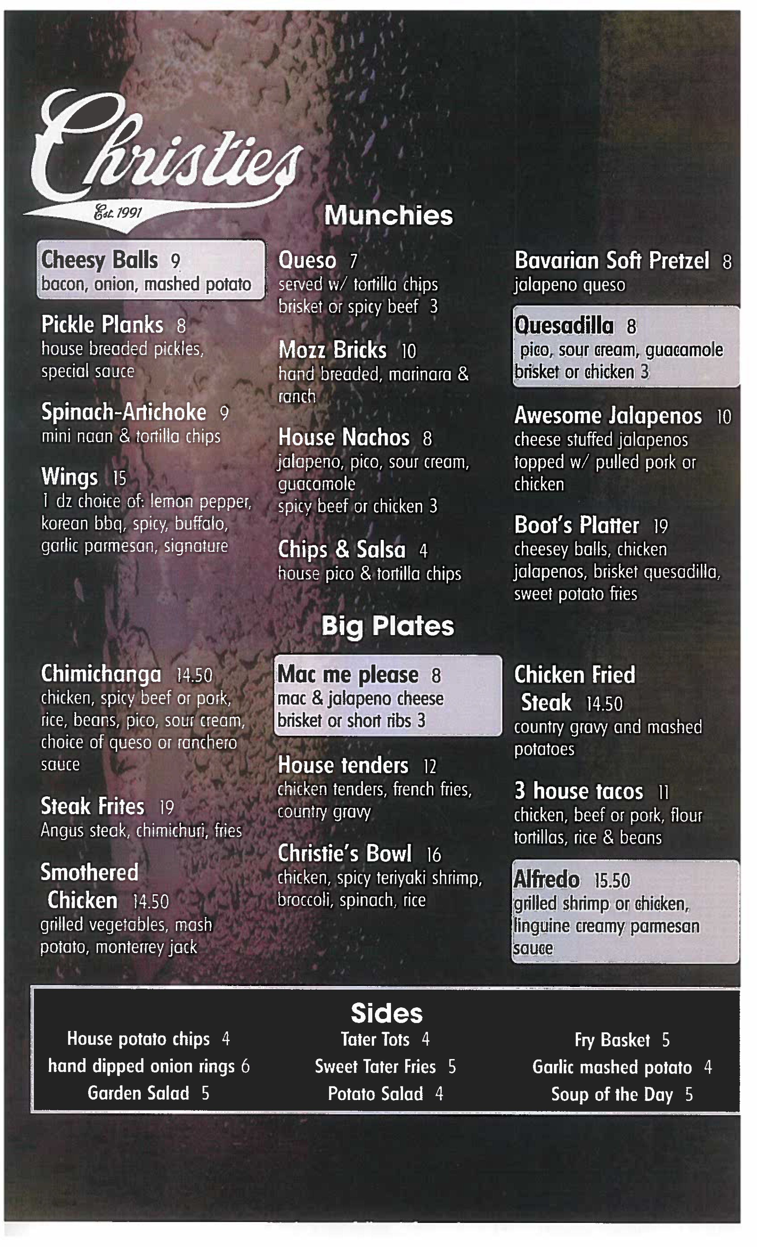 food menu christies sports bar