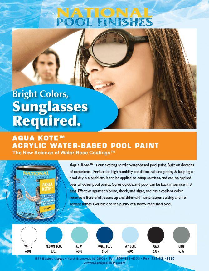 Aqua Kote Acrylic Waterbase Pool Paint National Pool