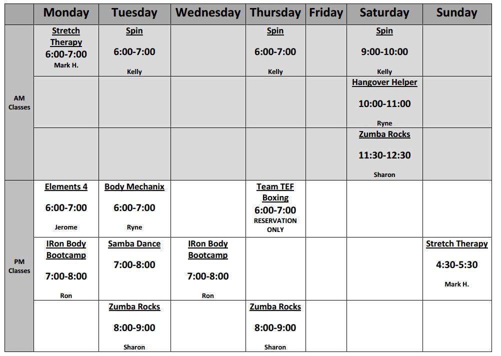 Class Schedule Diesel Fitness – Class Schedule