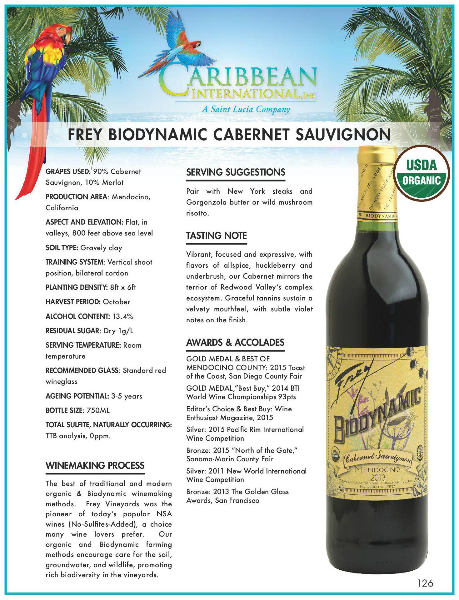 Biodynamic Cabernet Sauvignon - Caribbean International Inc
