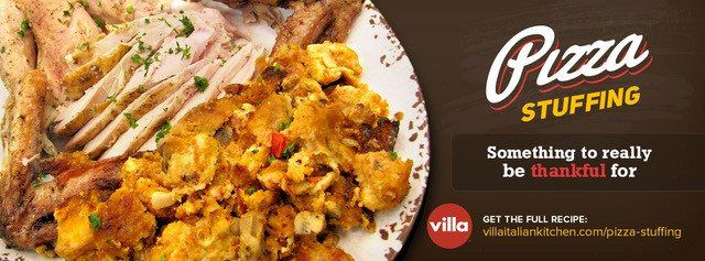 Villa Italian Kitchen's Pizza Stuffing on plate with logo overlay