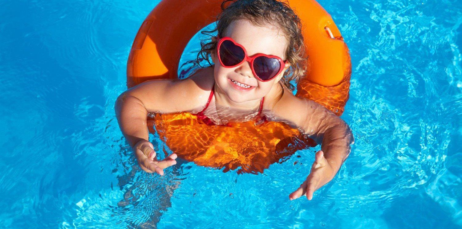 Baby inside the swimming  pool