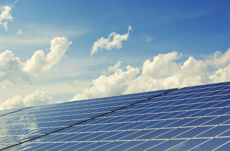 cloudy sky, solar panels