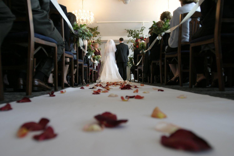 wedding aisle flower petals