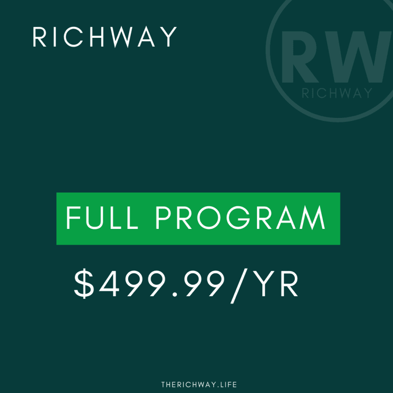 Benefits:  *Rich Seminar Ticket *TheRichWay Workbook *12 months of 1 on 1 coaching *12 months of Enrichment class *12 months Personal, Career, & Financial Growth