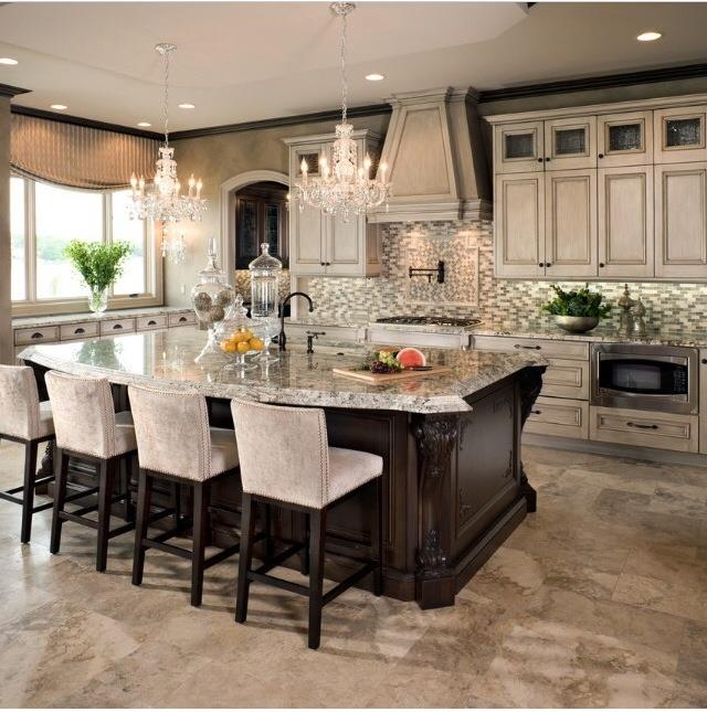 Glass Tile Backsplash With Dark Wood And Beige Cabinets Is A Classic Yet Luxurious Combination For Your Kitchen S Design Ennis Builders Realtors