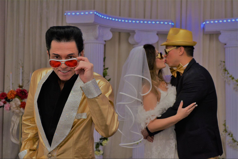 happy couple wedding with elvis