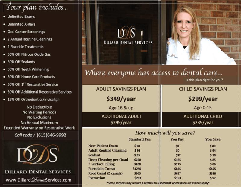 No Insurance? - Dillard Dental Services | 121 Belle Forest