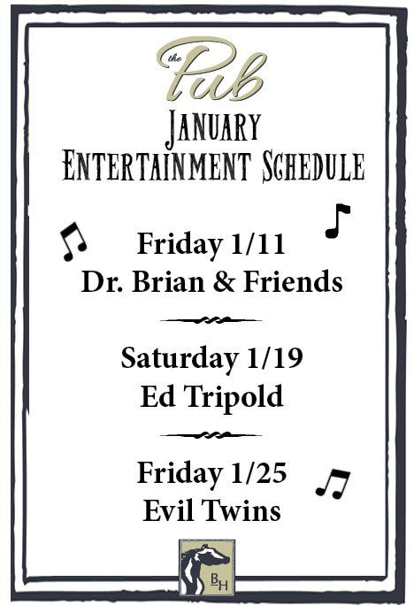 January Entertainment Schedule
