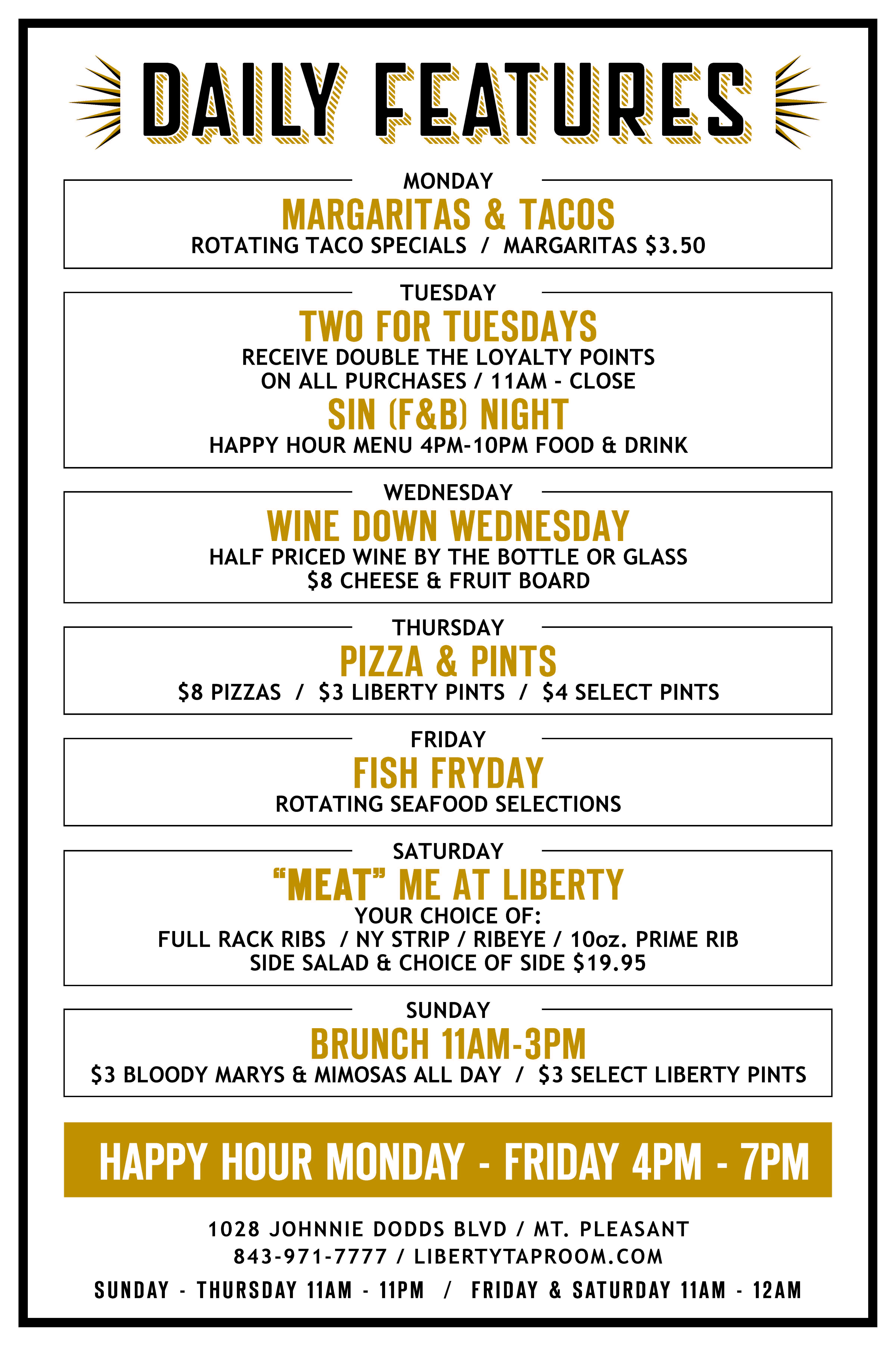 Liberty Tap Room Mt. Pleasant Daily Specials March 2018.jpg